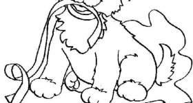 disegno natale colorare cane regalo